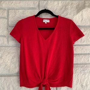 Red Madewell Texture & Thread V-Neck Tee (XXS)